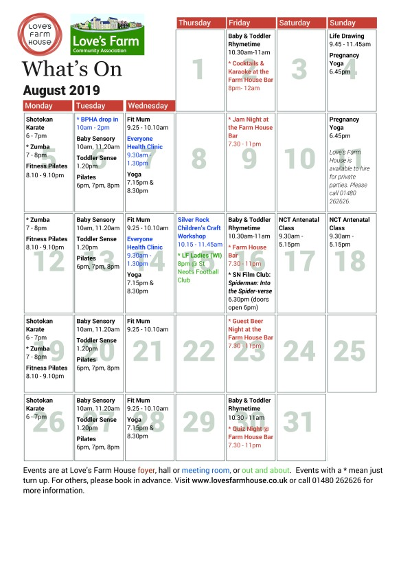 What's On - August 2019